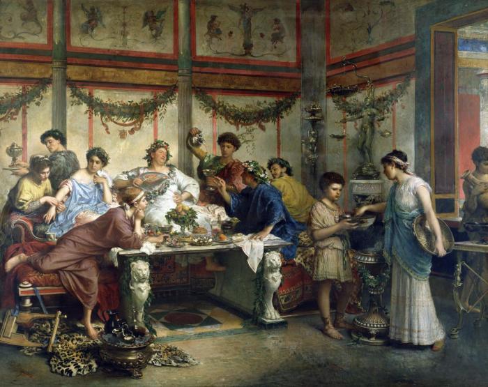 В Древности трапеза не обходилась без салфеток. Это потом их временно предадут забвению.